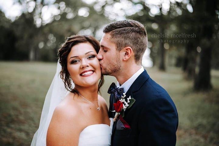 Happy bride and groom at Burdoc Farms