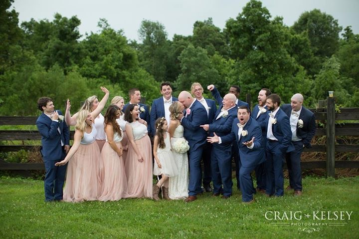 The whole wedding party at Burdoc Farms.