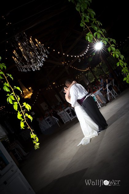 Bride and groom dancing on the dance floor at Burdoc Farms.